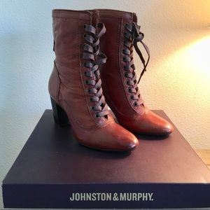 Johnston & Murphy Adeline Brown Lace Up Boot